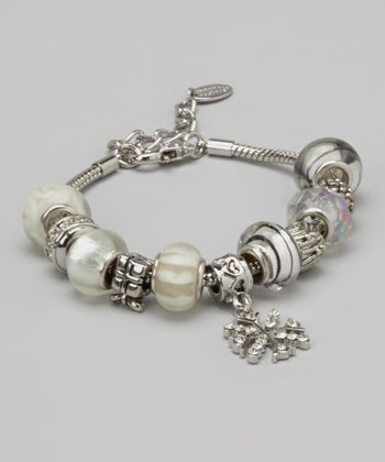 White Beaded Snowflake Bracelet