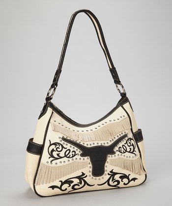 Crème & Black Steer Fringe Shoulder Bag