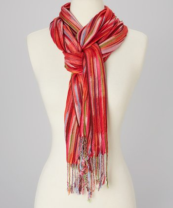 Red & Blue Sun Stripe Scarf