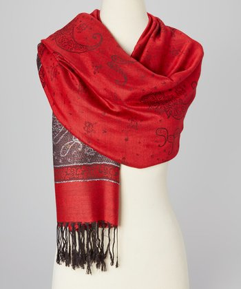 Red & Burgundy Color Block Paisley Scarf