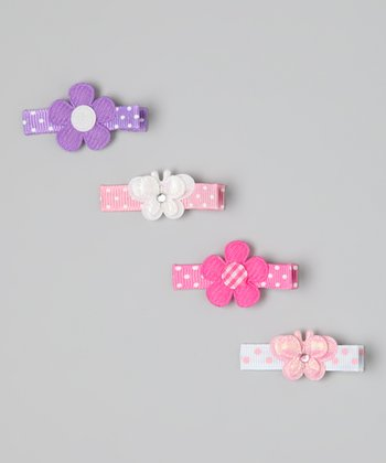 Pink & Purple Butterfly & Flower Clip Set