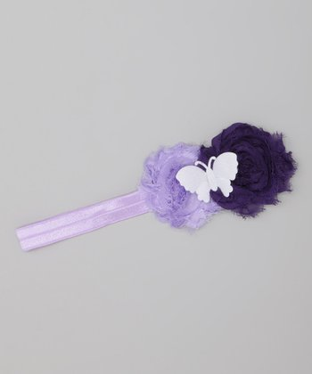 Purple Butterfly Flower Headband