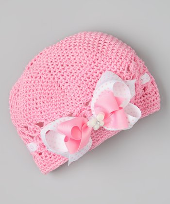 Pink & White Butterfly Bow Crocheted Beanie