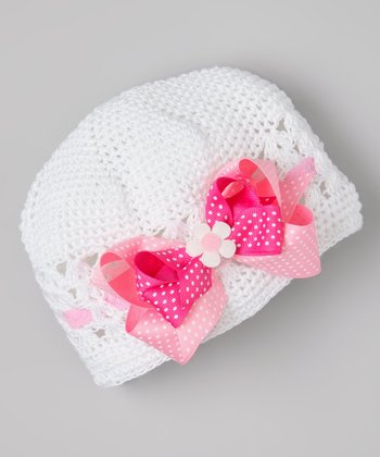 White & Hot Pink Flower Bow Crocheted Beanie
