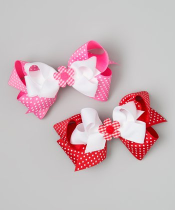 Hot Pink & Red Polka Dot Flower Bow Clip Set