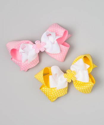 Yellow & Pink Polka Dot Flower Bow Clip Set