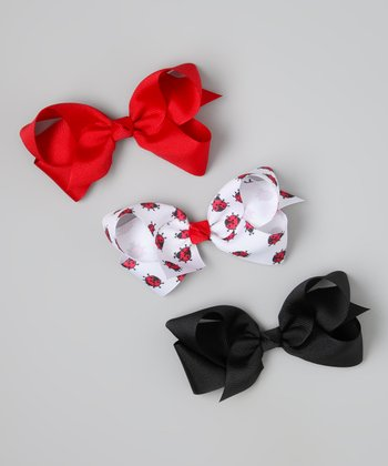 Red & Black Ladybug Bow Clip Set