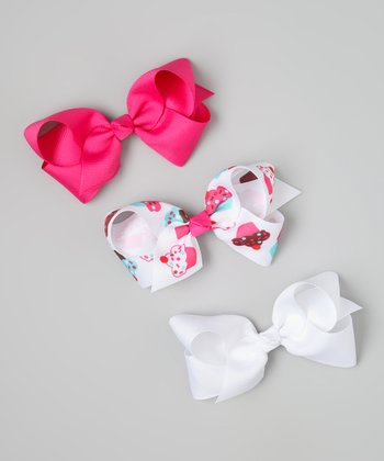 Pink & White Cupcake Bow Clip Set