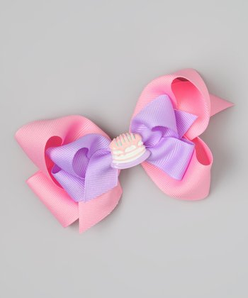 Pink & Purple Birthday Cake Bow Clip