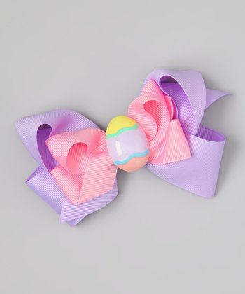 Pink & Purple Easter Egg Bow Clip