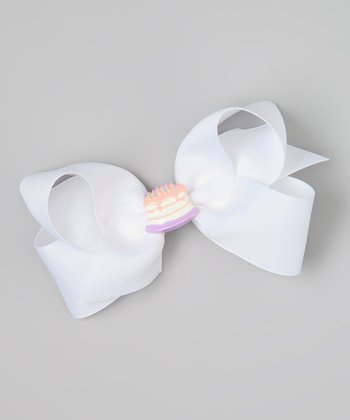 White Birthday Cake Bow Clip