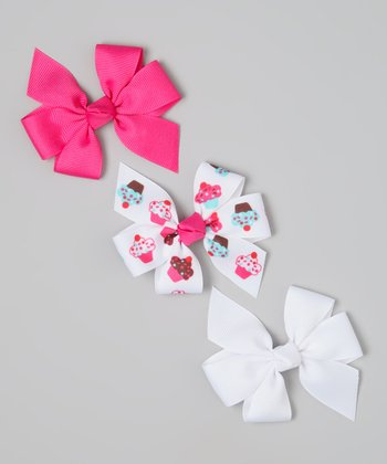 Hot Pink & White Cupcake Bow Clip Set