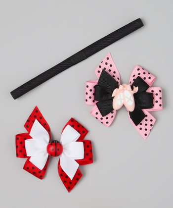 Red & Black Ballet & Ladybug Clip & Headband Set