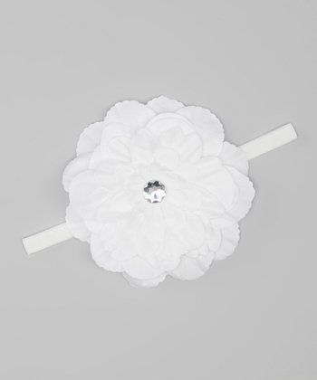 White Rhinestone Flower Headband