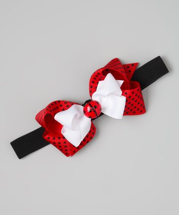 Red & White Ladybug Bow Wide Headband