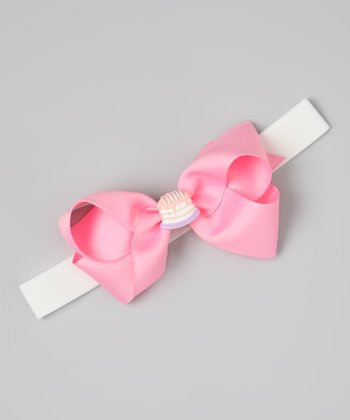Pink Birthday Cake Bow Wide Headband