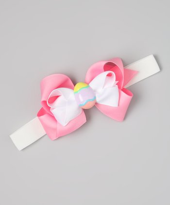 White & Pink Easter Egg Bow Wide Headband