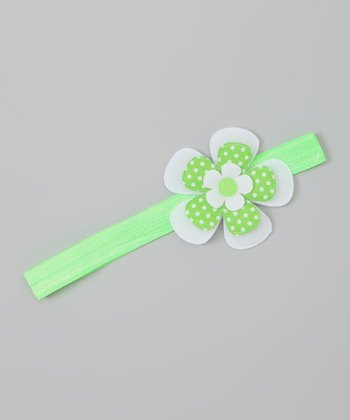 Lime Green Polka Dot Flower Headband