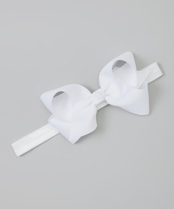 White Shimmer Bow Headband