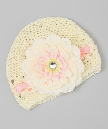 Cream & Pink Flower Crocheted Beanie