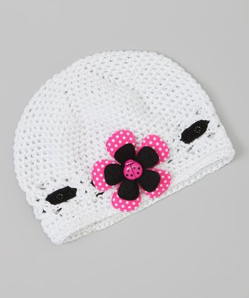 White & Hot Pink Ladybug Crocheted Beanie
