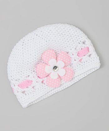 White & Pink Polka Dot Flower Crocheted Beanie