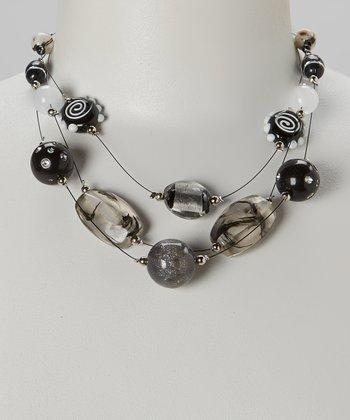 Black & White Strand Beaded Necklace