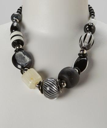 Black & White Swirl Necklace