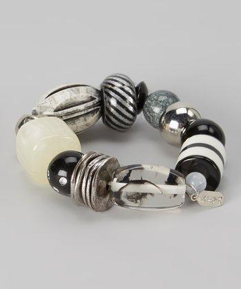 Black & Ivory Beaded Stretch Bracelet