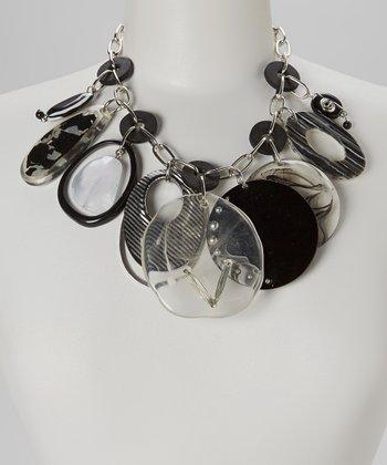 Black & Clear Beaded Bib Necklace