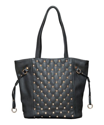 Black Studded Shopper