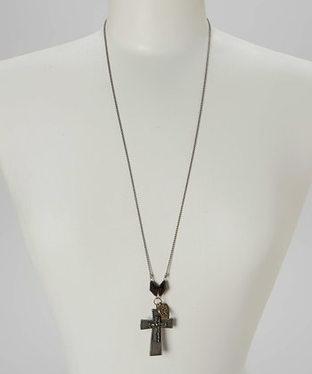 Black & Antique Silver Cross Pendant Necklace
