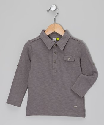 Dark Gray Long Sleeve Polo - Toddler & Boys