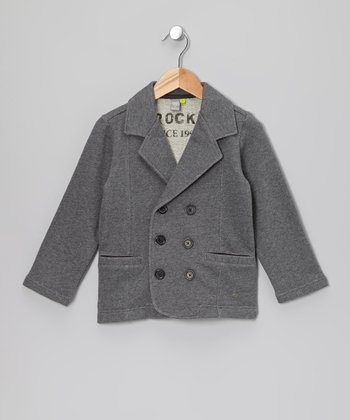 Dark Gray Double-Breasted Coat - Toddler & Boys