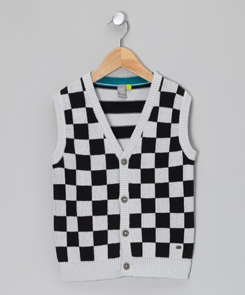 Gray & Black Checkerboard Vest - Toddler & Boys