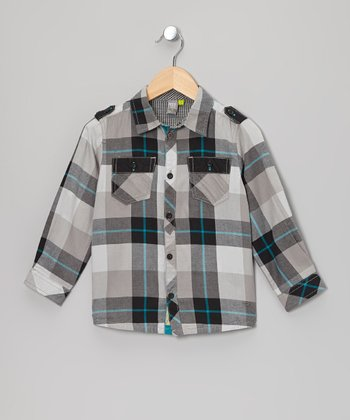 Black & Gray Plaid Button Down Shirt - Boys