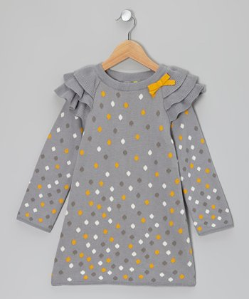 Gray & Mustard Ruffle Shoulder Sweater Dress - Toddler & Girls