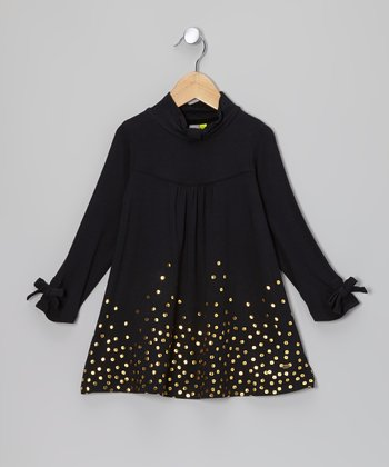 Black Foil Hexagon Long Sleeve Dress - Toddler & Girls