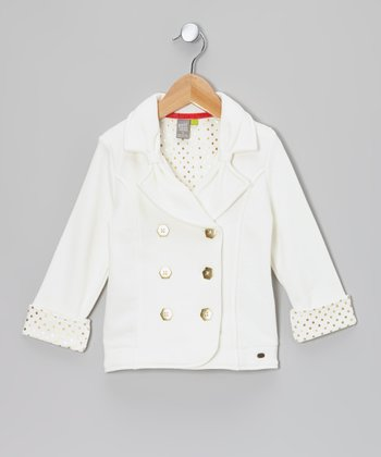 White Peacoat - Toddler & Girls