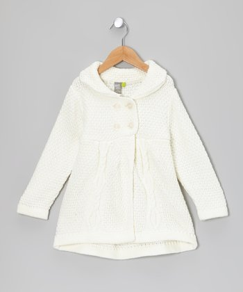Cream Cable Knit Babydoll Peacoat - Toddler & Girls