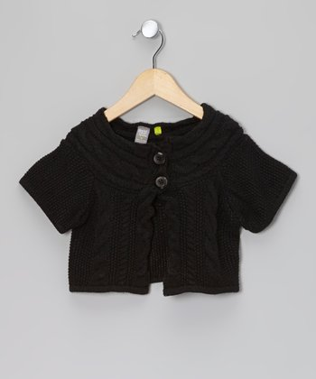 Black Cable Knit Short Sleeve Crop Cardigan - Toddler & Girls