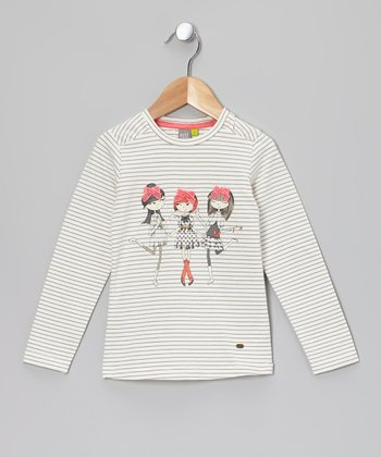 Cream Stripe Bow Girls Long Sleeve Tee - Toddler & Girls