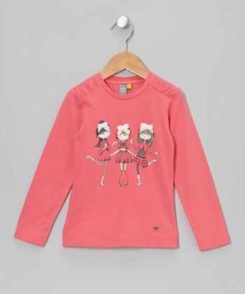 Sea Pink Bow Girls Long Sleeve Tee - Toddler & Girls
