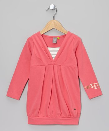 Pink Long Sleeve Layered Surplice Dress - Toddler & Girls