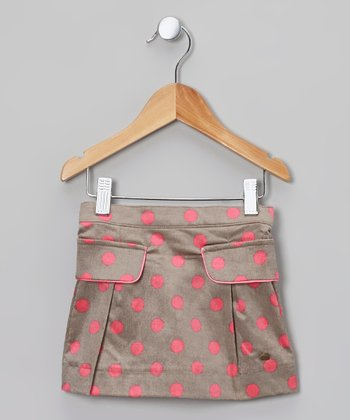 Gray & Pink Polka Dot Skirt - Toddler & Girls