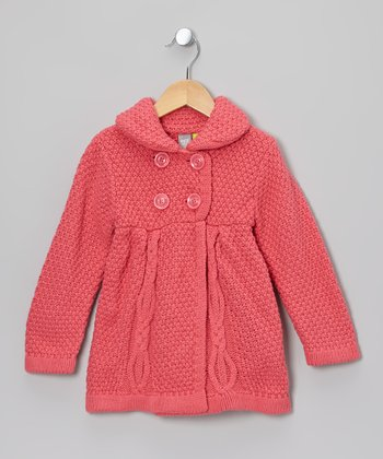 Pink Cable Knit Babydoll Peacoat - Toddler & Girls