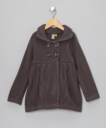 Brown Charcoal Cable Knit Babydoll Peacoat - Toddler & Girls