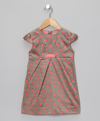 Gray & Pink Polka Dot Dress - Toddler & Girls