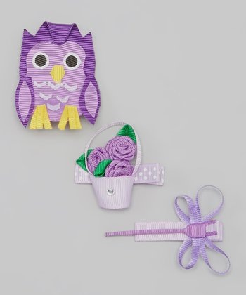 Purple Owl & Dragonfly Clip Set