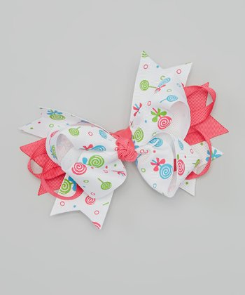 Hot Pink & White Candy Bow Clip